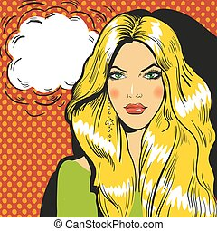 Beautiful blond woman pop art comic vector