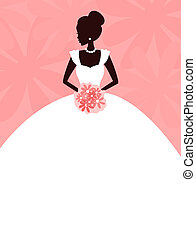 Illustration of a young elegant bride holding flowers. Place for your text.