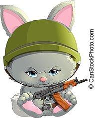 beautiful bunny with a Kalashnikov