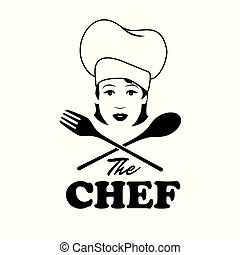 Beautiful chef with wooden spoon and fork. Retro style