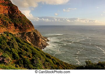Coastline and mountains at Chapman's Peak Drive in Cape Town, South Africa