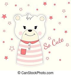Beautiful cute bear girl dreams of love.