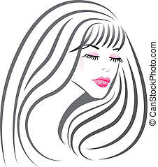 Beautiful girl face silhouette