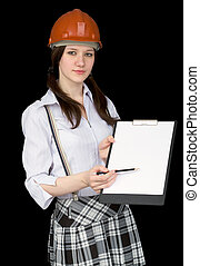 Beautiful girl in a helmet with tablet and pencil