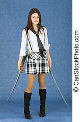 Beautiful girl in skirt armed with two katana