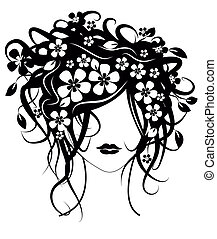 Beautiful girl with flowers in hair vector illustration