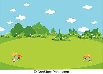 Beautiful green meadow with mushrooms