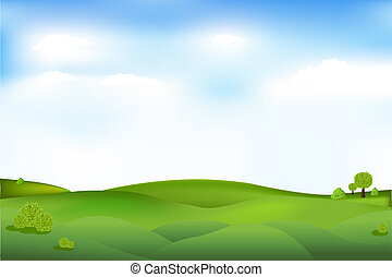 Beautiful Landscape With Trees And Clouds In Sky, Vector Illustration