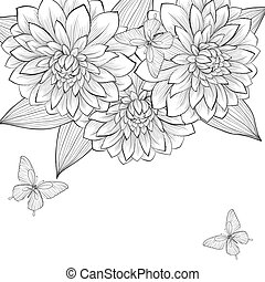 beautiful monochrome black and white background with frame of dahlia flowers and butterflies. Hand-drawn contour lines and strokes. Perfect for background greeting cards and invitations to the day of the wedding, birthday and Valentine's Day