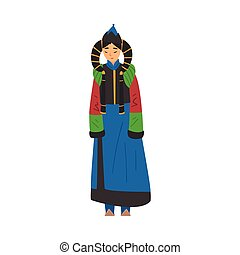 Beautiful Nomad Mongol Woman, Central Asian Character in Traditional Clothing and Headgear Vector Illustration