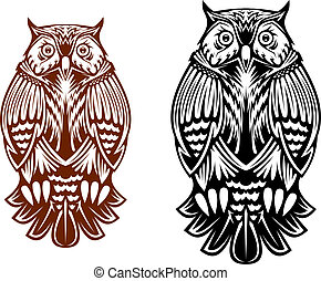 Beautiful owl isolated on white background for sport team mascot, tattoo or emblem design