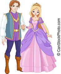 Illustration of charming prince and beautiful princess