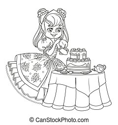 Beautiful princess near the table laid for tea drinking with a big delicious cake