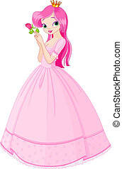 Illustration of beautiful princess with rose