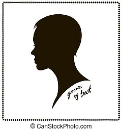 Face side view. Elegant silhouette of a female head. Vector Illustration. Short hair. Monochrome gamma.