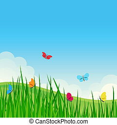 Beautiful summer meadow with colorful butterflies. Vector illustration.