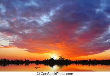 Beautiful sunset at the lake