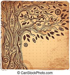 Beautiful Unique ethnic tree of life illustration