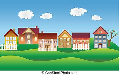 Beautiful village, town or neighborhood on green hills