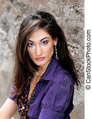 gorgeous fashion model closeup head shot portrait