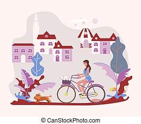 Beautiful woman pet owner on bicycle with her dog
