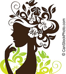 Beautiful woman silhouette with flowers and bird