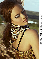 beautiful woman with cat eye fashion make-up