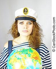 girl and the earth globe
