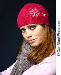 girl in a red cap
