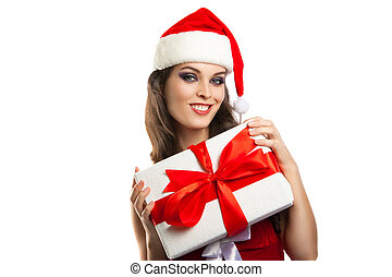beautiful young girl with a gift in Christmas costumes