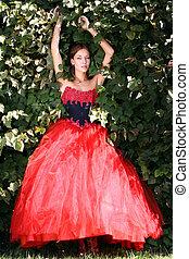 Beautiful young women in Red dress