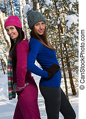 Beautiful young women outdoor in winter
