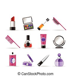 beauty, cosmetic and make-up icons - vector icon set