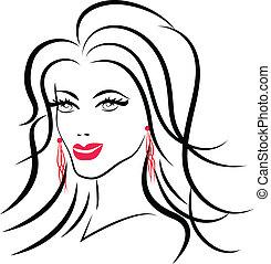 Beauty face fashion woman logo