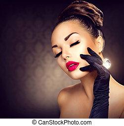 Beauty Fashion Glamour Girl Portrait. Vintage Style Girl
