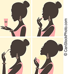 Illustration of a young beautiful woman and her beauty routine.