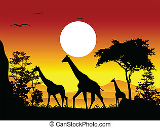 vector illustration of beauty giraffe trip silhouettes with landscape background