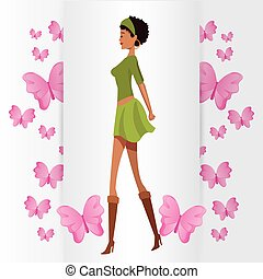 beauty woman with butterfly