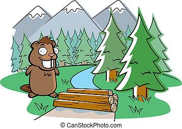 A happy cartoon beaver building a dam.