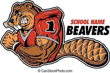 beaver football player mascot
