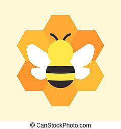 Bee and honeycomb icon