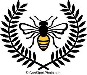 Bee and laurel wreath color vector