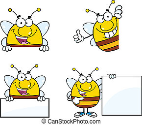 Bee Cartoon Mascot Characters Set Collection 7
