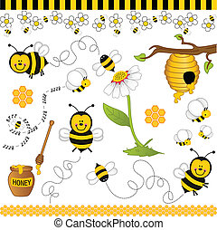 Image representing a bee digital collage, isolated on white, vector design.