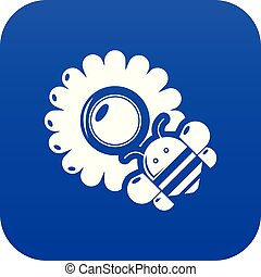 Bee flower icon blue vector