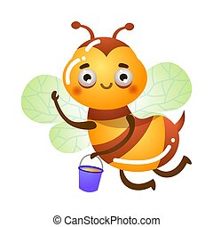 Bee flying and holding bucket with honey vector illustration