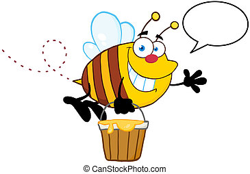 Bee Flying And Speech Bubble