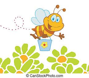 Bee Flying Bucket In The Garden