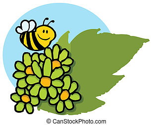 Bee Flying Over Green Daisies