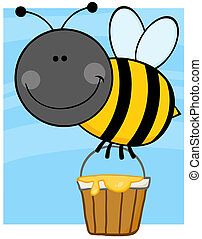 Bee Flying With A Honey Bucket